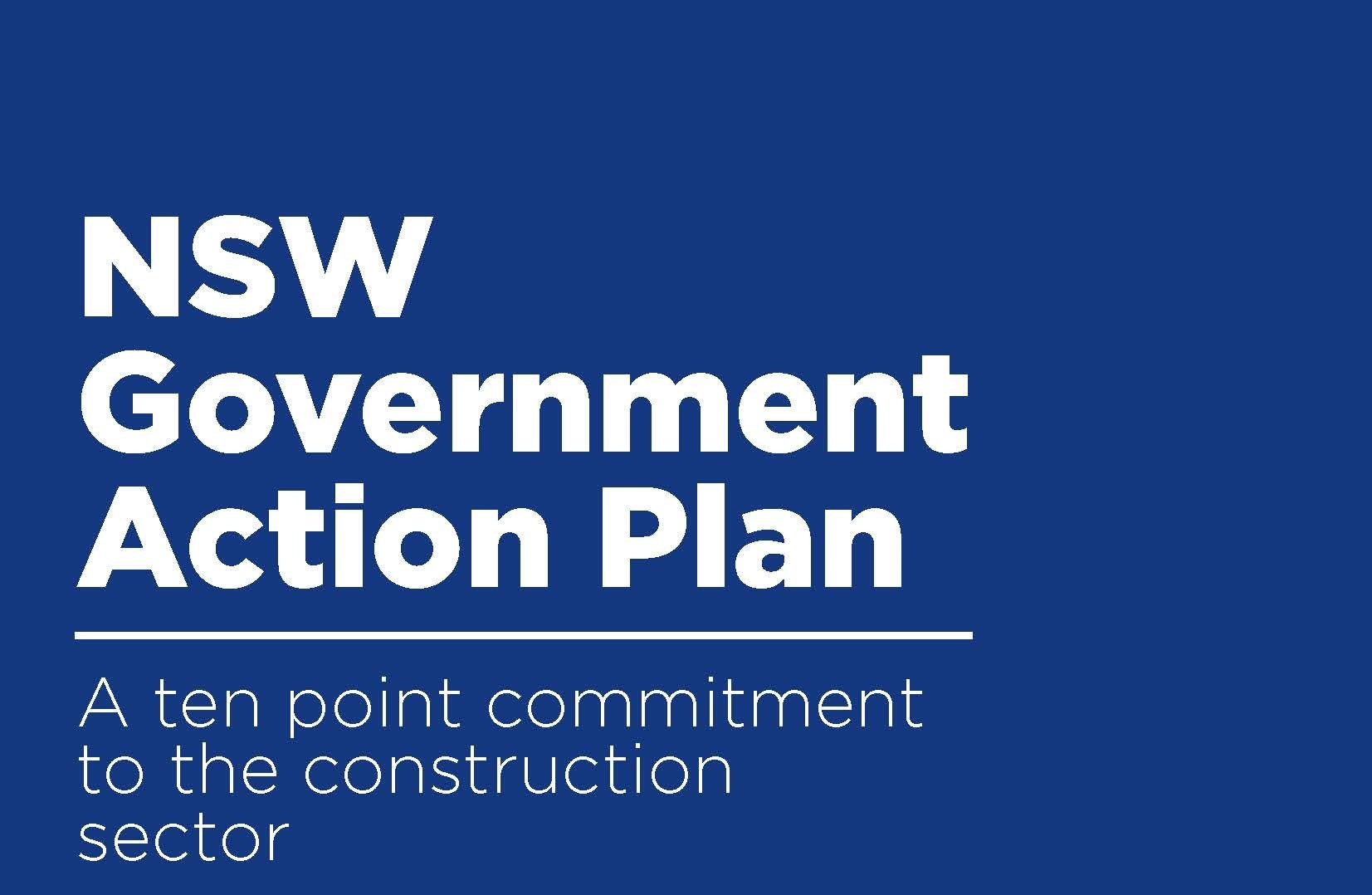 Cover page for the 10 point commitment to the construction industry action plan
